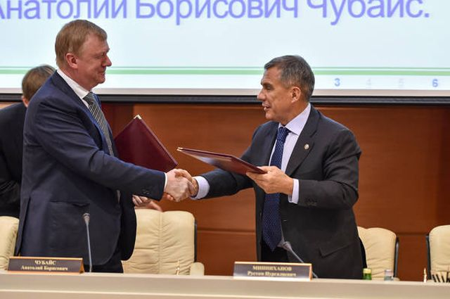 Минниханов иЧубайс подписали соглашение осотрудничестве Татарстана с«Роснано»