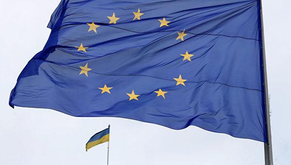 Вгородах государства Украины подняли флаги европейского союза вчесть получения безвиза