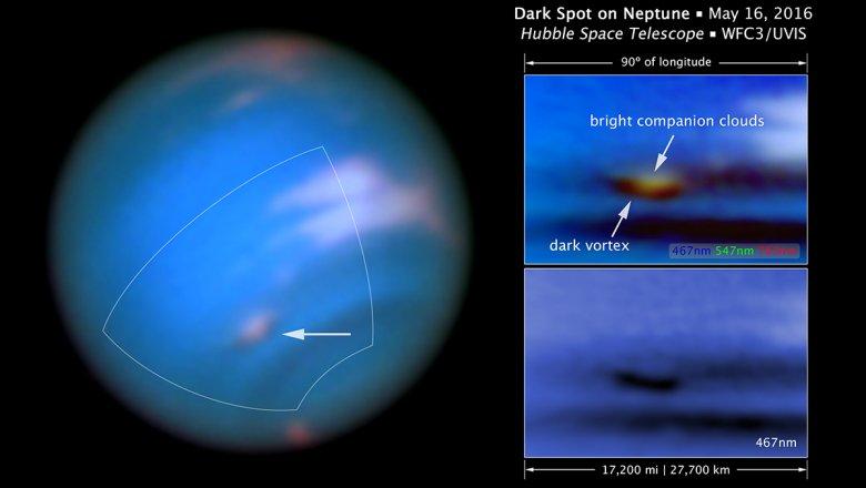В атмосфере Нептуна сфотографировали странные вихри